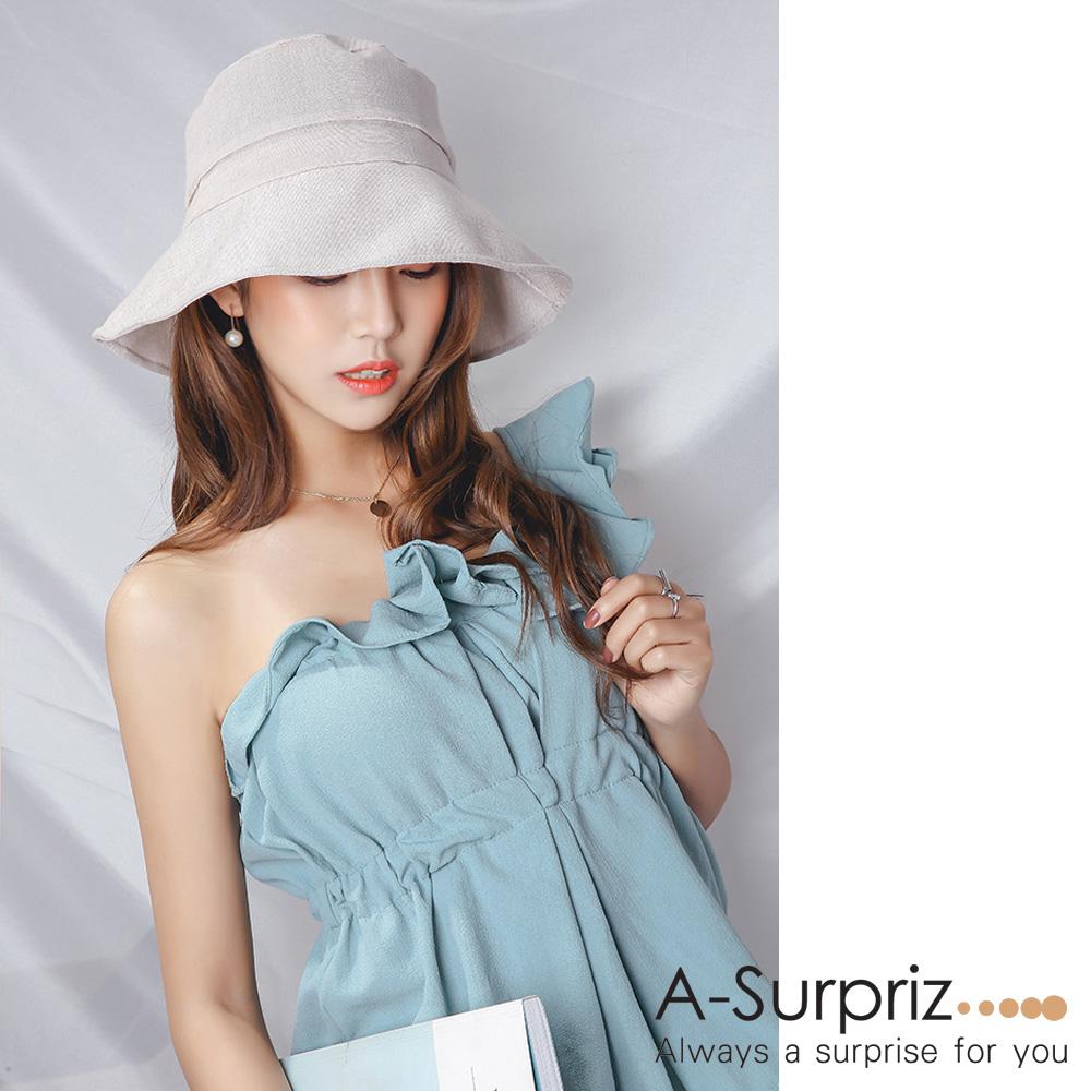 A-Surpriz 氣質大蝴蝶結遮陽布帽(米)附防風繩