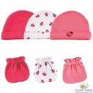 Luvable Friends 桃紅瓢蟲帽子手套6件組