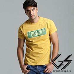 巴西車牌風格磨毛水洗T恤(共三色)-GraphicSpace
