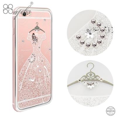 apbs iPhone6s/6 PLUS 施華洛世奇彩鑽金屬框手機殼-玫瑰金禮服...