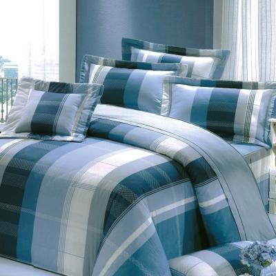 都會戀人 台灣製加大五件式純棉床罩組(藍)