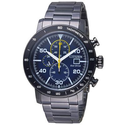 CITIZEN 光動能計時時尚腕錶-藍x黑/45mm