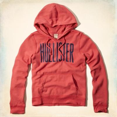 Hollister HCO 長袖 LOGO 連帽T 紅色 257