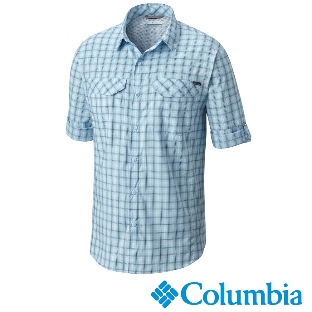 Columbia哥倫比亞 男款-防曬40快排長袖襯衫-藍紋 UAE12820JC