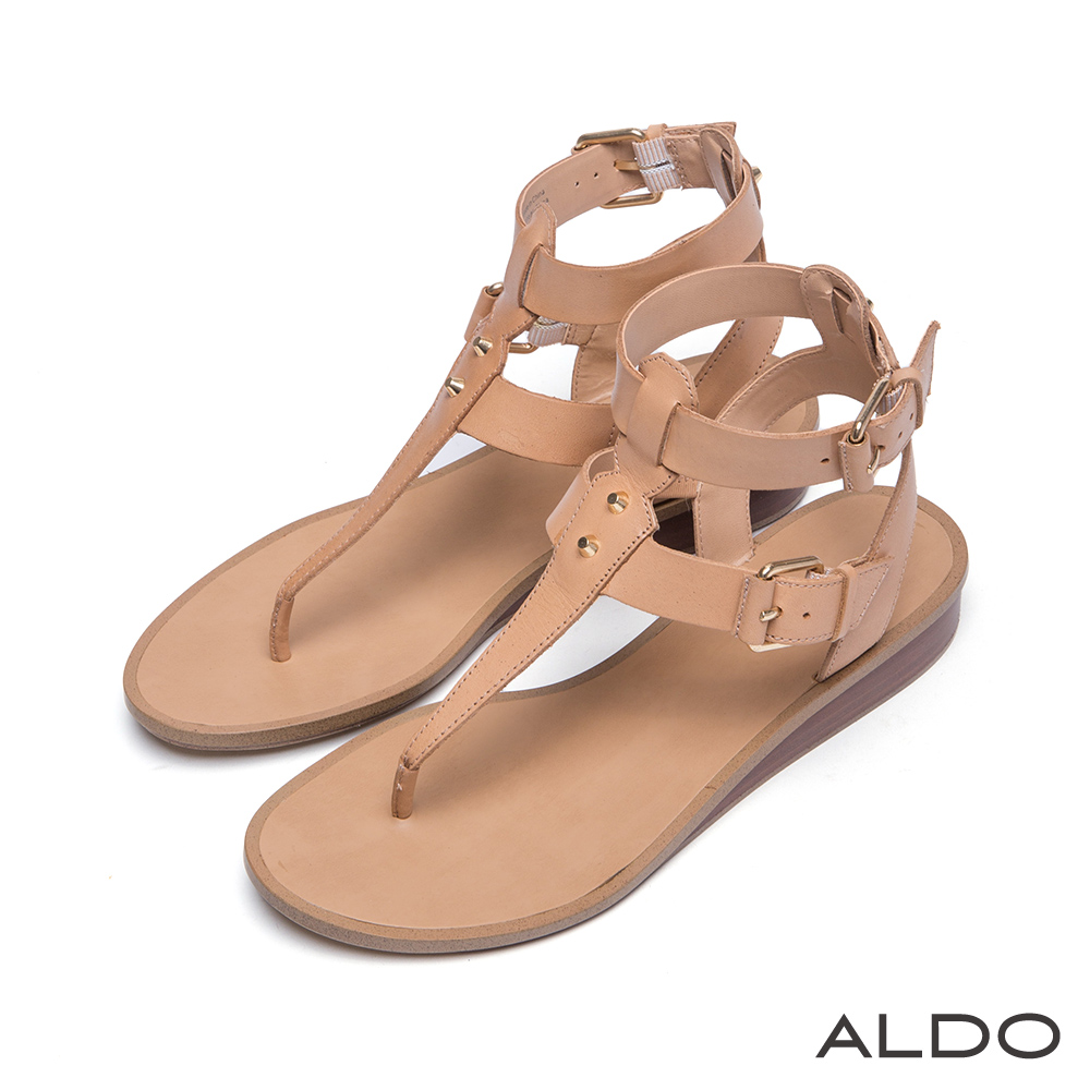 ALDO 皮革金屬鉚釘繫帶小坡跟涼鞋~氣質象牙