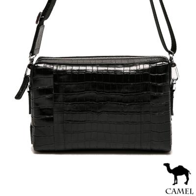 CAMEL - 奢華品味牛皮鱷魚紋雅痞2WAY手拿包