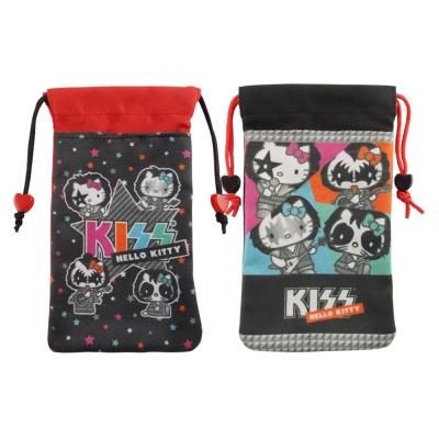 KISS HELLO KITTY 4.7吋通用搖滾雙層收納束口袋