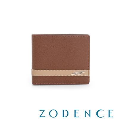 ZODENCE MAN 義大利牛皮系列條紋配色設計短夾 駝