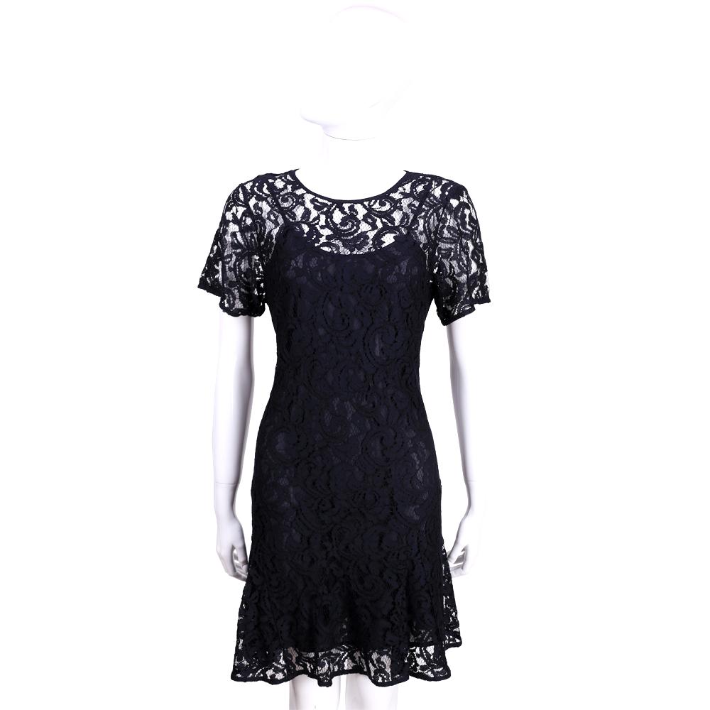 Michael Kors 深藍色縷空蕾絲短袖洋裝