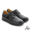 A.S.O 輕量抗震 油感牛皮綁帶奈米紳士休閒鞋 黑色