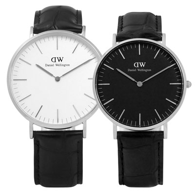 DW Daniel Wellington 情侶真皮對錶-銀框x黑/40mm+36mm