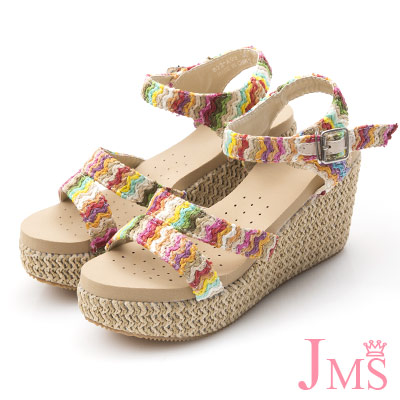 JMS-超舒適繽紛彩色編織帶厚底楔型涼鞋-杏色