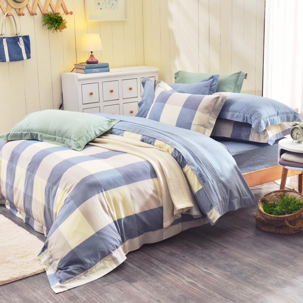 IN HOUSE-ALPHA-200織紗水洗棉-薄被套床包組(藍色-加大)