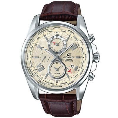 EDIFICE 世界時間指針錶(EFB-301JBL-7A)咖啡/44.5mm