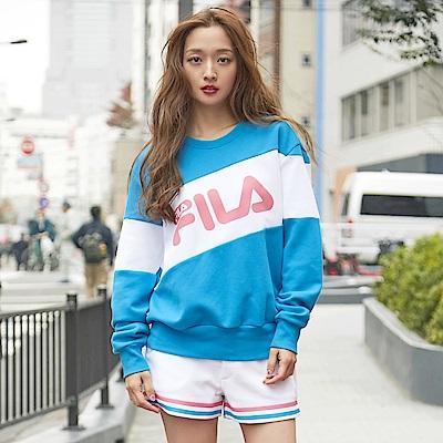 FILA #東京企劃 長袖圓領T恤-寶藍1TES-1400-BU