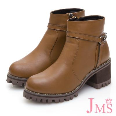 JMS-騎士風範馬鞍釦飾T字高跟短靴-咖啡色