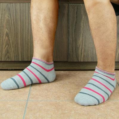 源之氣 竹炭條紋船型休閒運動襪/男女共用 6雙組 RM-30005