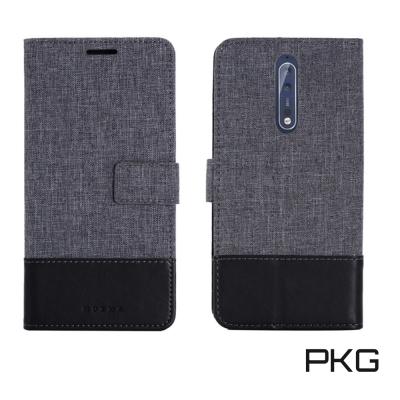 PKG Nokia 8 側翻式國際時尚雙拚皮套