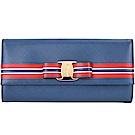 過年不打烊 Salvatore Ferragamo 條紋蝴蝶結造型釦式長夾(藍色)