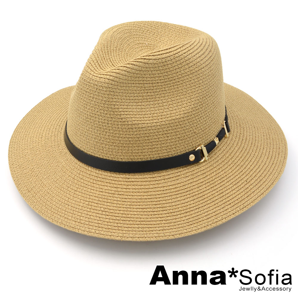 AnnaSofia 細黑革金屬扣帶 寬簷遮陽紳士帽爵士帽草帽(駝系)