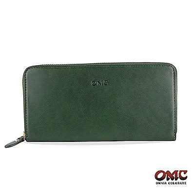 OMC 原皮系列-植鞣牛皮單拉鏈 12 卡透明窗雙隔層零錢長夾-綠色