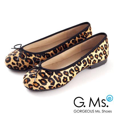 G.Ms. MIT系列-全真皮蝴蝶結馬毛芭蕾舞鞋-毛豹紋