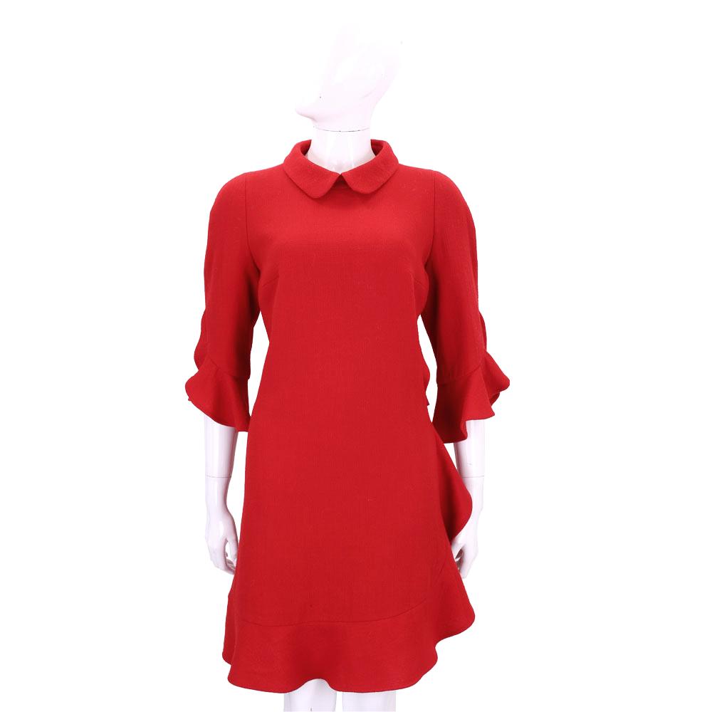 EDWARD ACHOUR PARIS紅色荷葉邊七分袖洋裝(100%WOOL)