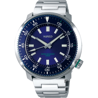 WIRED SOLIDITY 復古軍用200米手錶(AY8033X1)-藍x銀/44mm