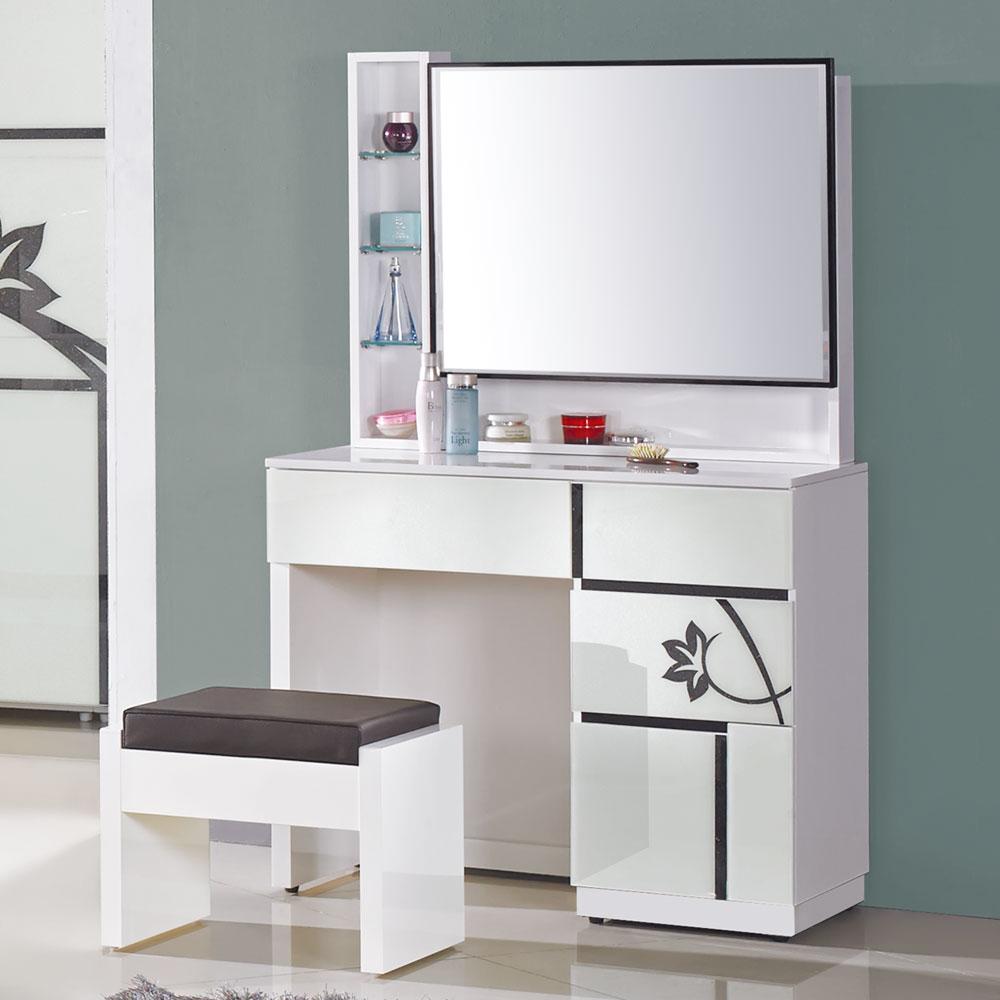 居家生活 艾薇3尺白色玻烤鏡台(含椅)