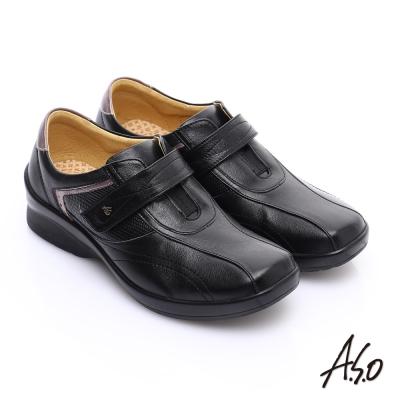 A.S.O 3E寬楦 全真皮金箔流線型魔鬼氈休閒鞋 黑