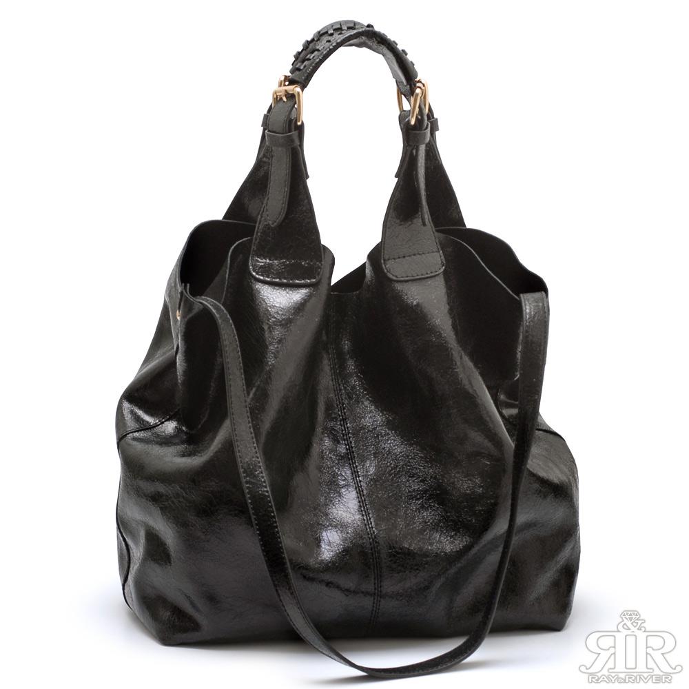【2R】Rebecca金屬牛皮風采設計包(光澤黑)