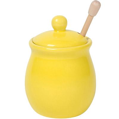 NOW 竹製蜂蜜棒+陶罐(黃)