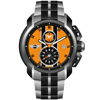 MINI Swiss Watches 急速奔騰三眼計時腕錶-橘/45mm