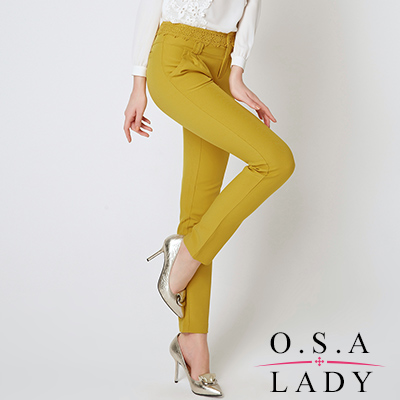 O-S-A-LADY-蕾絲花邊褲頭簡約西裝褲-芥末