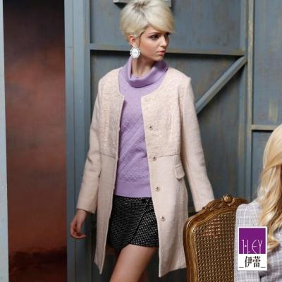ILEY伊蕾-含羊毛蕾絲拼接毛呢外套