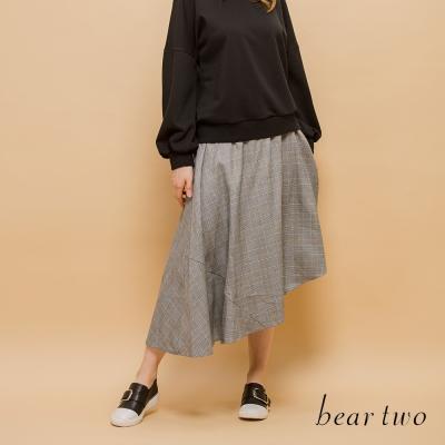 beartwo 網路獨家-威爾斯王子格紋不對襯造型圓裙(灰色)