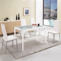 Bernice-克萊爾白色玻璃餐桌椅組(一桌四椅)120x70x75cm