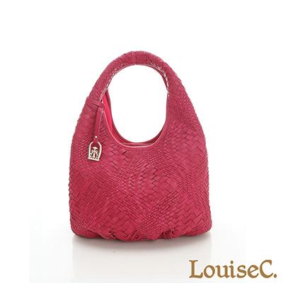 LouiseC. 羊皮手工編織水滴肩背包(小款) - 桃紅色- 02L05-0022A14