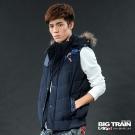 BIG TRAIN-男用配布折帽背心-深藍