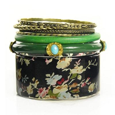 Aimee Toff 翠綠寶石古色多層次手環