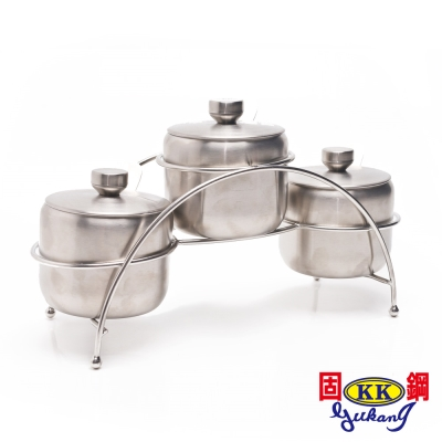 【固鋼】304不鏽鋼鹽罐調味罐300ML三罐組
