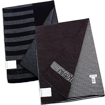 Calvin Klein CK 條紋雙面針織圍巾