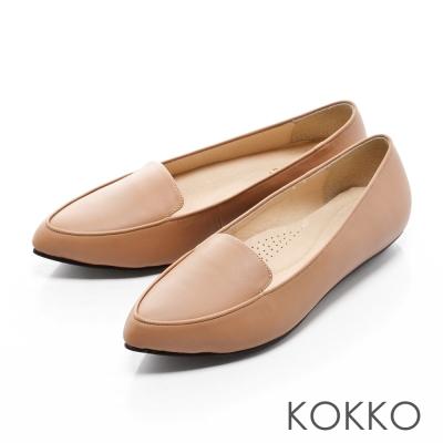 KOKKO-雅痞尖頭真皮平底樂福鞋-杏裸膚