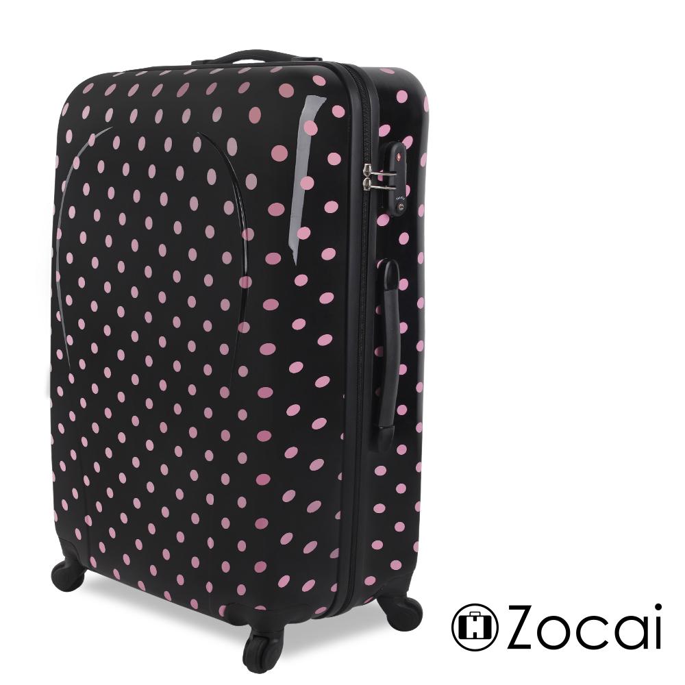 【Zocai佐卡依】甜蜜圓點迷戀24吋超輕量PC硬殼鏡面行李箱(混搭黑粉)