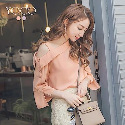 東京著衣-yoco 柔情香頌單肩吊帶斜肩袖開衩上衣-S.M.L(共二色)