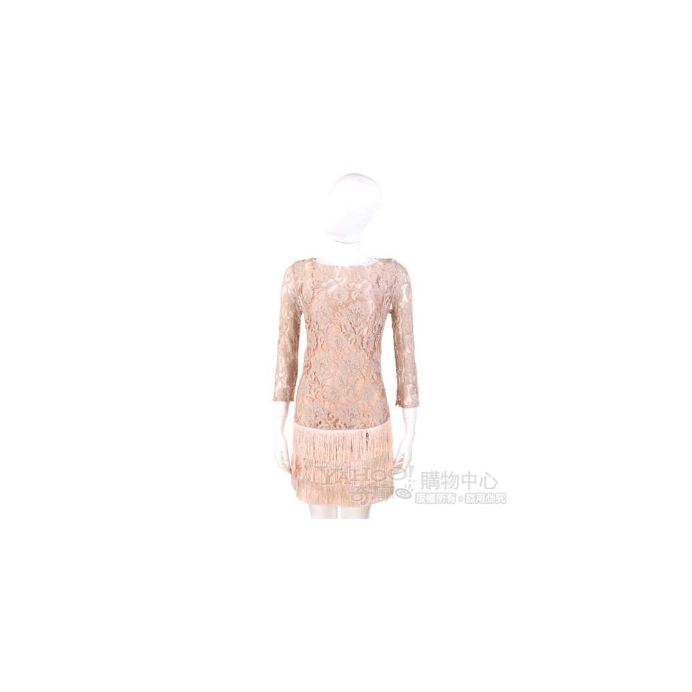 ELISABETTA FRANCHI 駝色蕾絲設計長袖洋裝