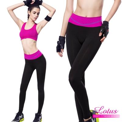 運動褲 點點織紋彈力包腹瑜珈運動褲-甜玫紅 LOTUS(速)