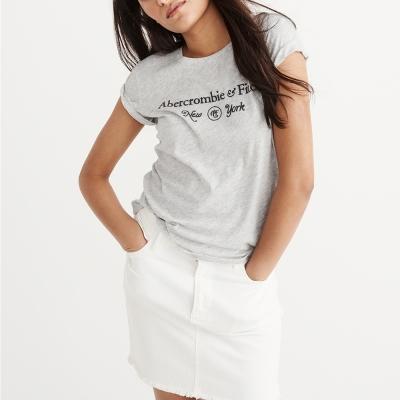 A&F 經典刺繡紐約文字設計短袖T恤(女)-灰色 AF Abercrombie