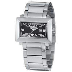 ICEBERG 經典方型羅馬刻度不鏽鋼帶錶-黑/38mm