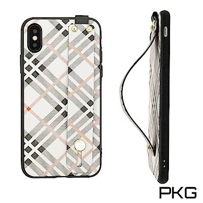 PKG Apple IPHONE X 保護套(時尚格紋伸縮挽帶)